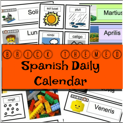 spanish lego calendar elementary school lesson homeschool